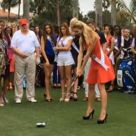 Watch Miss Universe contestants play golf in high heels