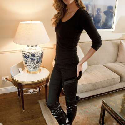 Gisele Bundchen in black patent boots with low heels at Andy Kropa PS January 2014