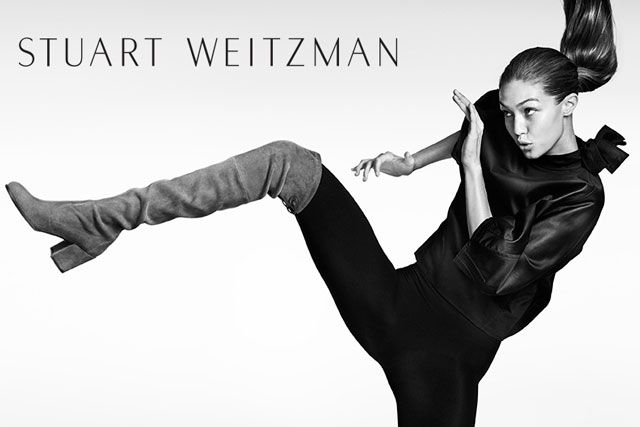 Gigi Hadid kicks in boots for Stuart Weitzman's Fall 2016 campaign
