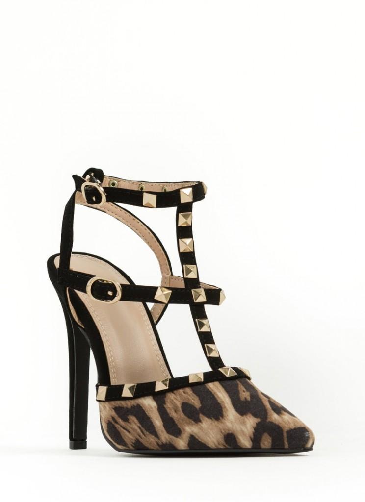 T-strap studded heels