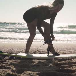 Check out French model Maud Le Car surf in high heels