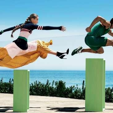 Gigi Hadid runs in high heels for the latest Vogue photoshoot