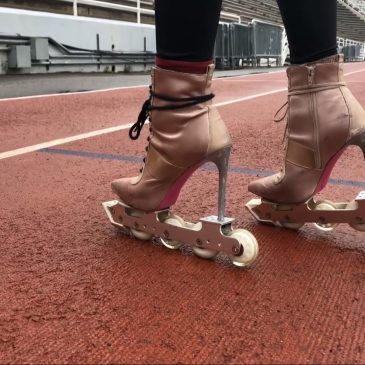 This lady wants to set a World Record for fastest skating backwards… in high heels
